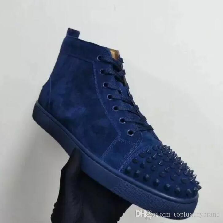 2018 homens sapatos de lazer novo ocasional baratos vermelho sneakers inferiores para os homens com pontas de camurça preta homens moda casual sapatos de treinadores de topo