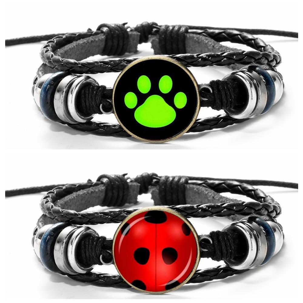 Cartoon Ladybug Bracelet Ladybug Chat Noir Glass Cabochon Bracelet Wrap Multilayer Bracelets Fashion Jewelry Drop Shipping