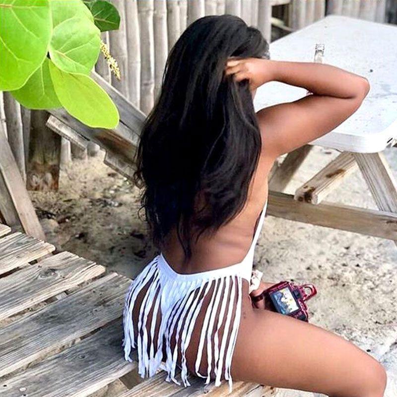 Sexy Tassel Biquinis Push up Swimwear por Mulheres 2020 Summer Beach Swim Wear Uma peça Monokini fato de banho Lady Beachwear One Piece Swimsuit