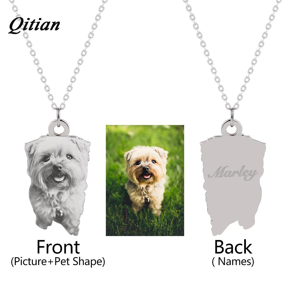 Pet Customized Pendants & Necklaces Stainless Steel Personalized Necklace Nameplate Photo Engraved Diy Jewelry Dropshipping Y19050802