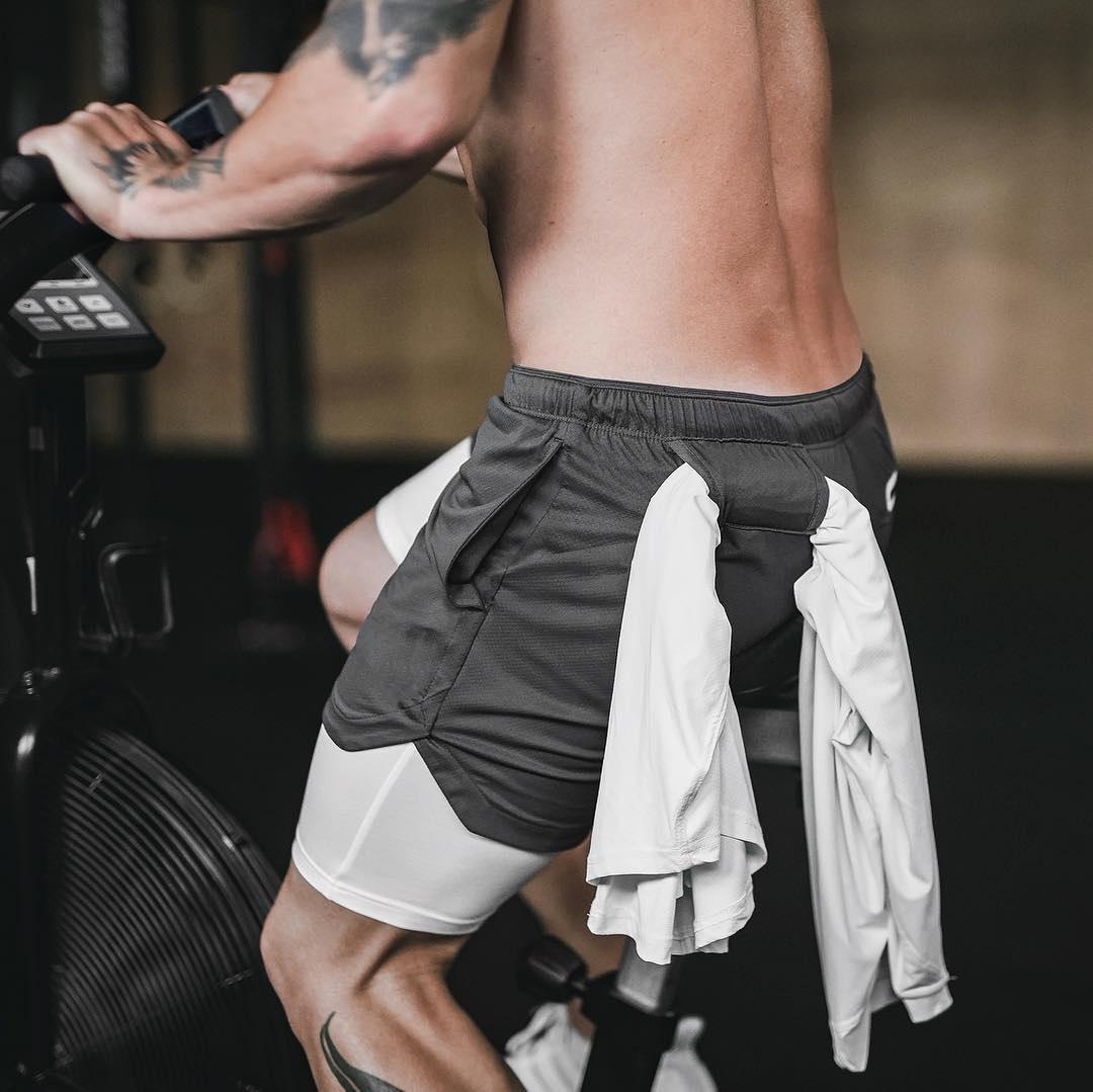 Günlük Pantolon çift açık fitness eğitim maraton koşma Erkek spor şortu ışık kurulu beş pantolon çabuk kuruyan
