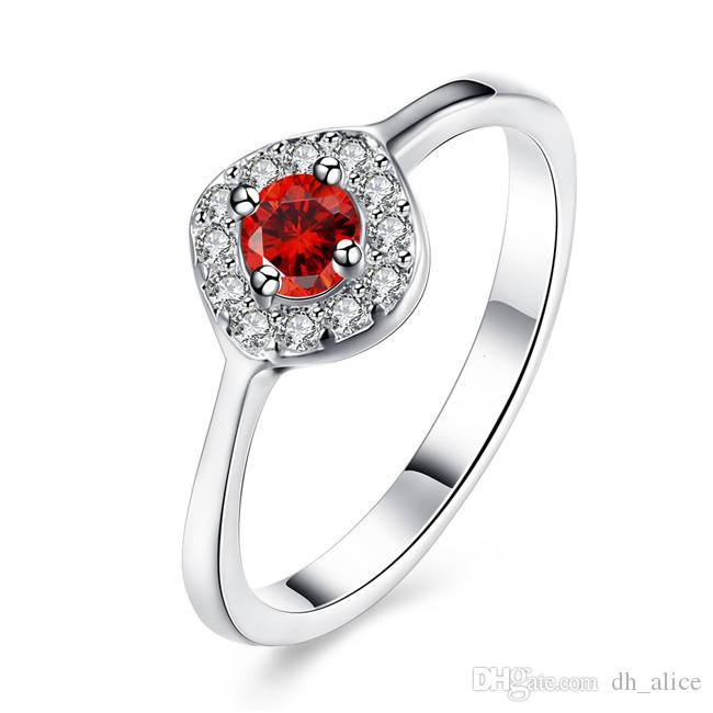 Classic design Plated sterling silver Round red zircon ring DHSR328 US size 8; Hot sale women's 925 silver plate Solitaire Rings jewelry