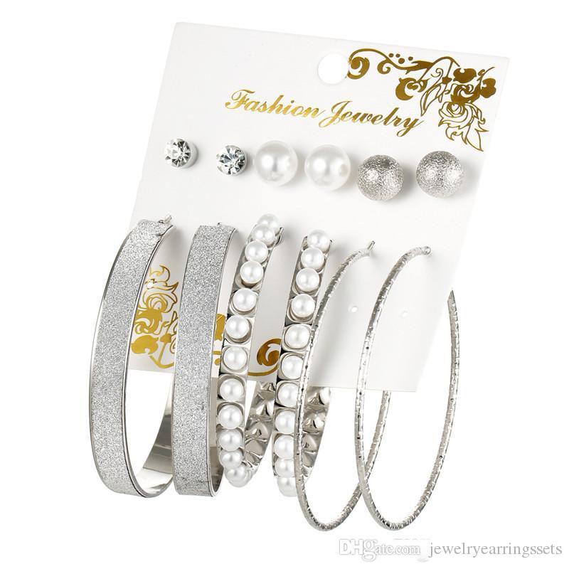 Pendientes de plata del aro nueva del color del oro de gran tamaño para la bola círculo mujeres 6Pairs mezcla perla redonda del perno prisionero del aro pendiente Establece Bohemia Je