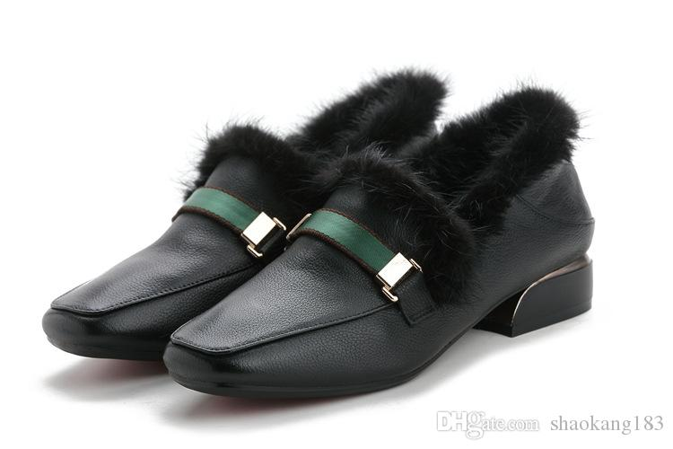 New European and American style casual high-end women's shoes Baotou metal buckle lazy shoes leather fur shoes women