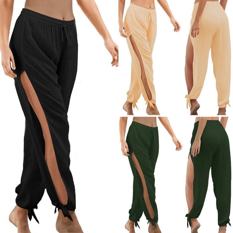 Plus Size Mulheres Verão Causal oco Out Praia solto dança calças perna larga cintura elástica Abrir Side High Dividir Calças Y200418