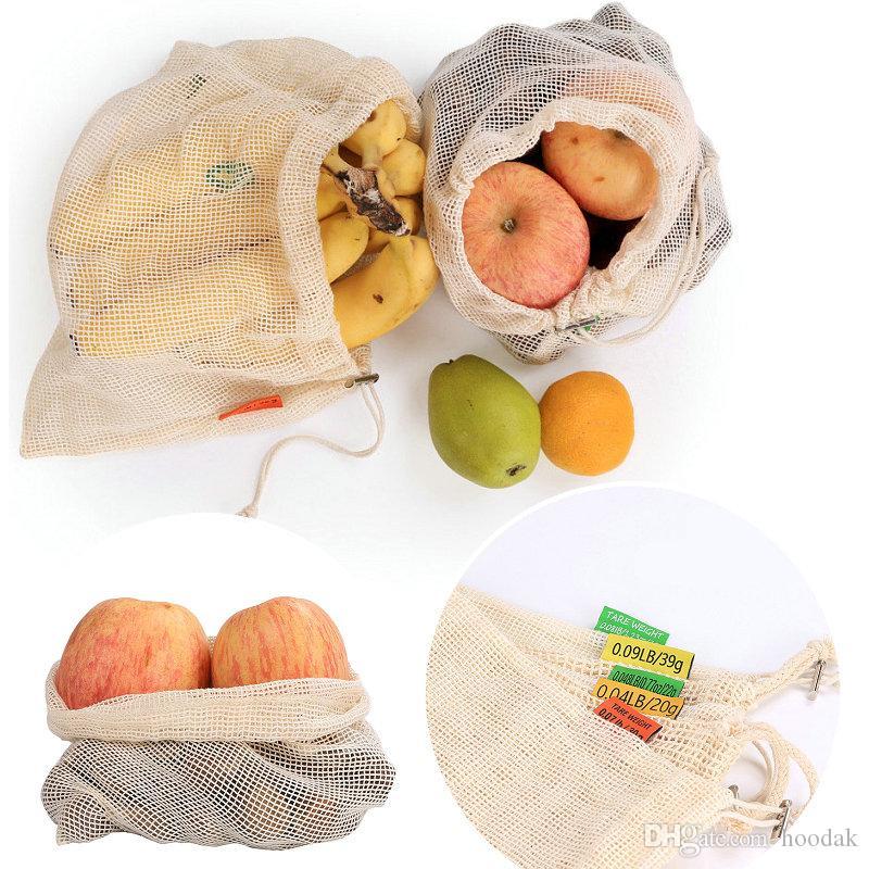 3 tamanhos reutilizável Cotton Malha compras na mercearia produzir sacos de legumes frutas frescas bolsas de mão Totes Início Bolsa de armazenamento com cordão Bolsa