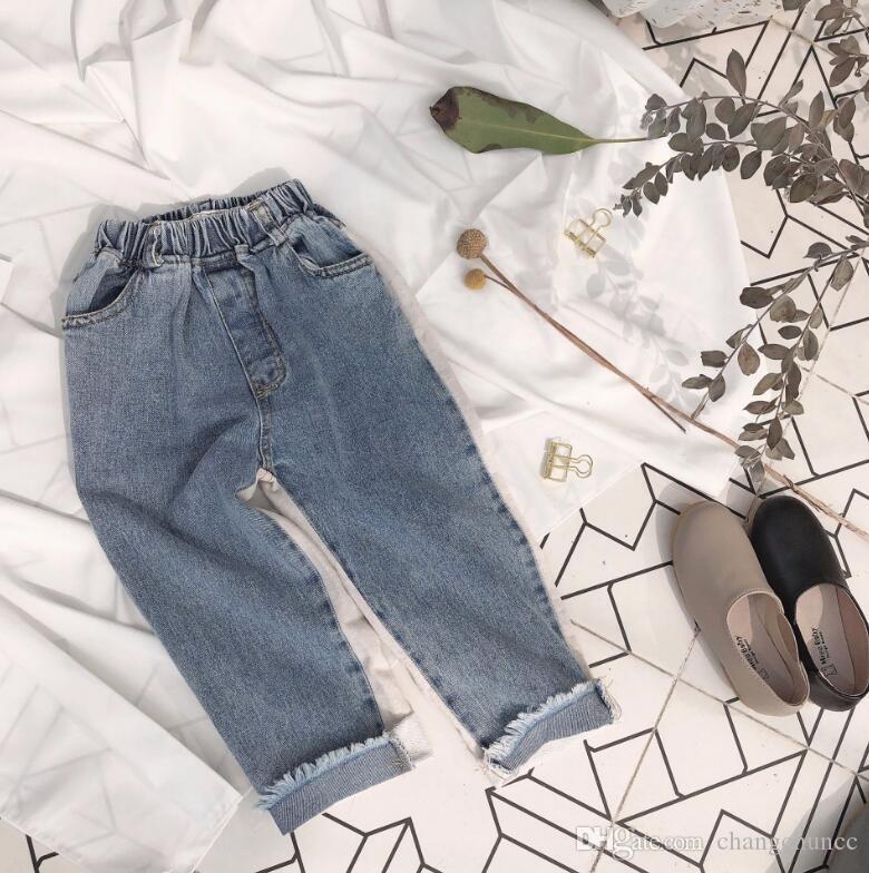 2019 новое поступление девушки парни джинсовые брюки лоскутное весна мода дети джинсовые брюки 2-7 т YUU76