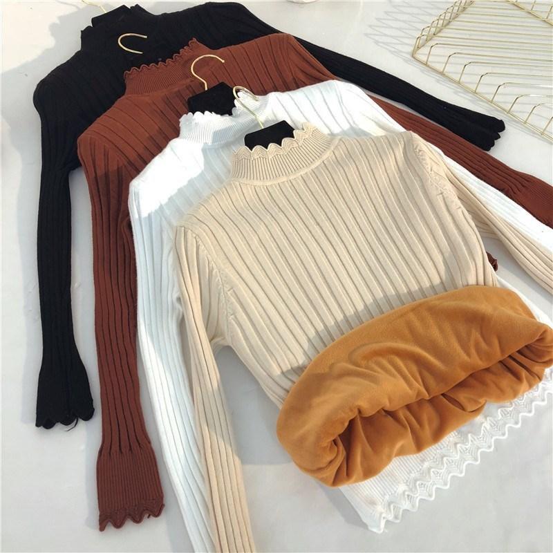 Inverno New Metade Turtleneck curto Mulheres Knit pulôver além de veludo Thicken camisola inferior Casual Feminino Jumper Tops Y62 LY191217