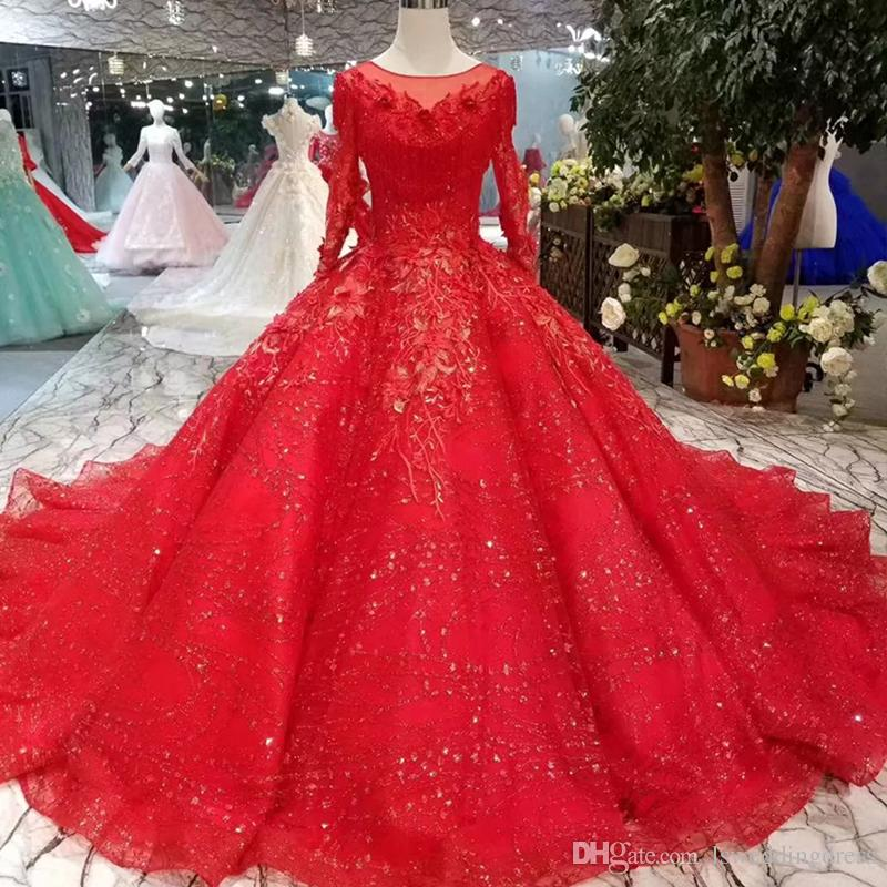 Ball Gown Red Wedding Dresses Pleat Tassel Illusion O Neck Long Sleeve  Muslim Bridal Wedding Gown With Long Train 2019 Actual Imapes Best Wedding
