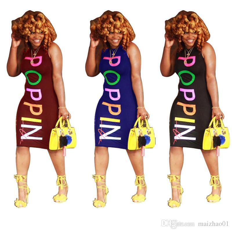 Frauen POPPIN Kleid Sleeveless Weste, figurbetontes Kleid Regenbogen-Buchstabe-Druck-einteiliges Rock Poppin Design Strand-lange Kleid Club-Kleidung S-2XL