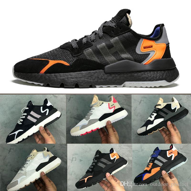 Acheter Adidas Nite Jogger 2019 Nouveau Nite Réfléchissante Chaussures De Jogging Pour Hommes Chaussures De Running Pour Hommes Core Noir Blanc TRACE
