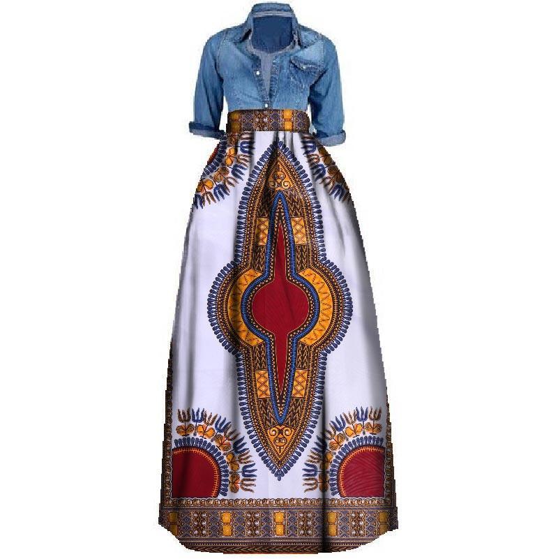 Yeni Afrika Baskı Yaz Etek Kadınlar Için Artı Boyutu Dashiki Afrika Geleneksel Giyim Balo Rahat Etekler WY106