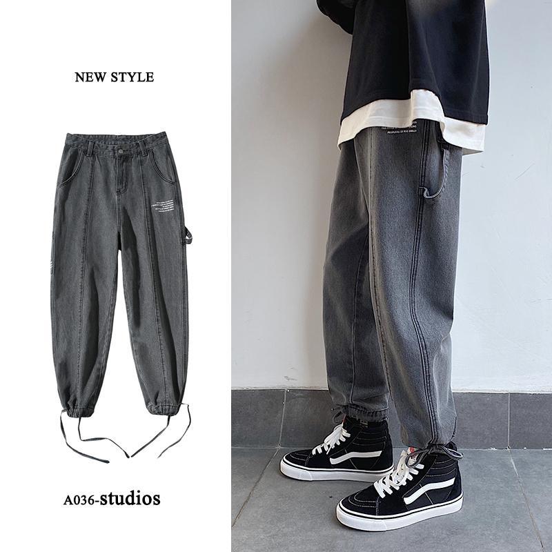 Jeans Moda lavada retro rectos ocasionales Los pantalones vaqueros de los hombres Streetwear salvaje flojo Hip Hop dril de algodón pantalones para hombre M-5XL