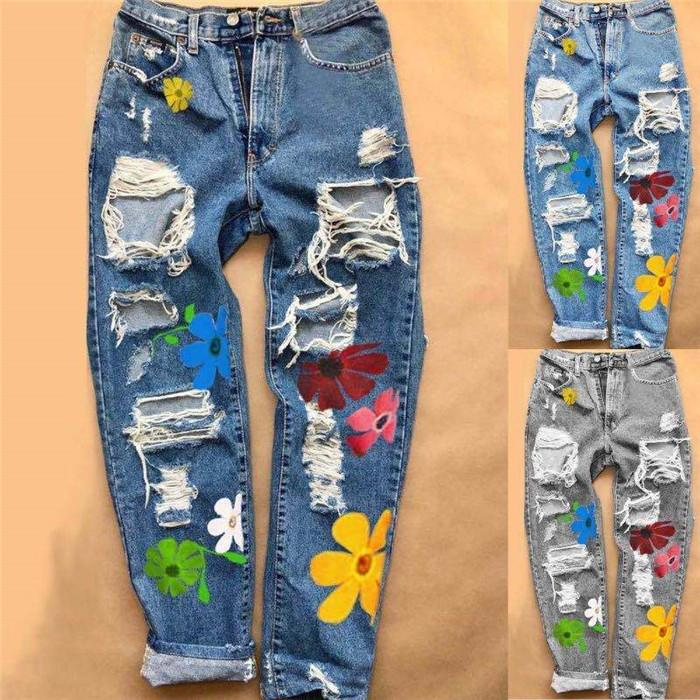 Mulheres Buraco Jeans florais solto Mid Skate cintura calças estilo retas Famale Moda Jeans
