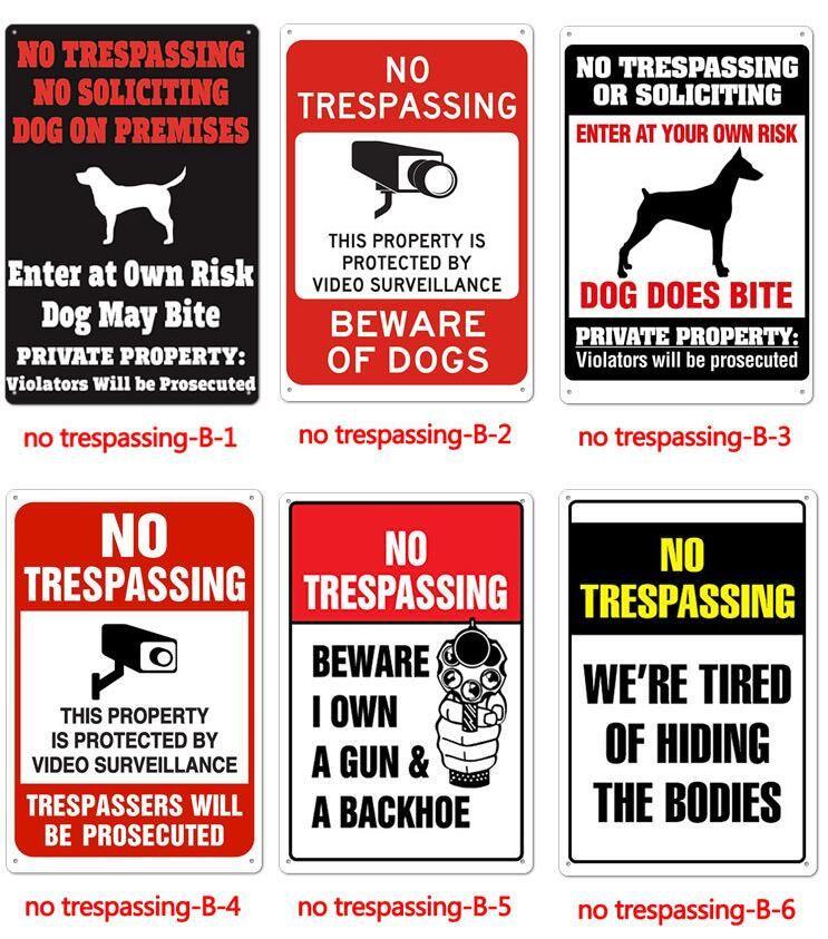 Não invasão cuidado com cães metal pinting assina placa lata do vintage assinar Home Decor Café Bar Decoração Pub Decorativo Metal Wall Art