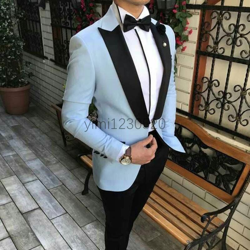 Bahar 2 Adet Erkekler Suits Peaked Yaka Bir Düğme Balo Suits Slim Fit Blazer Ceket Erkekler smokin Damat Düğün Suit Coat + Pant