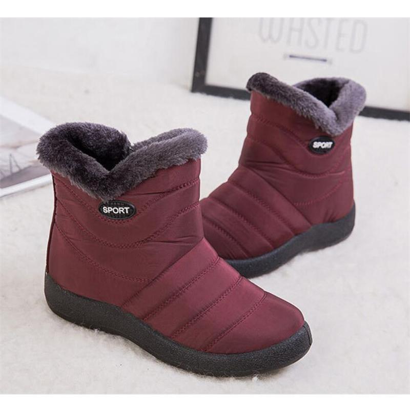 BEYARNENew neve Botas Mulheres Waterproof tornozelo Slipper Inverno Mulher botas quentes curto Plush Palmilha Feminino Flanging Shoes Big Size