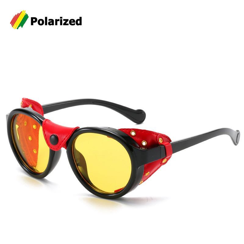 JackJad 2020 Moda SteamPunk vendimia del estilo de gafas de sol polarizadas, cuero, escudo de diseño de marca de los vidrios de Sun Gafas de Sol0046 Y200420