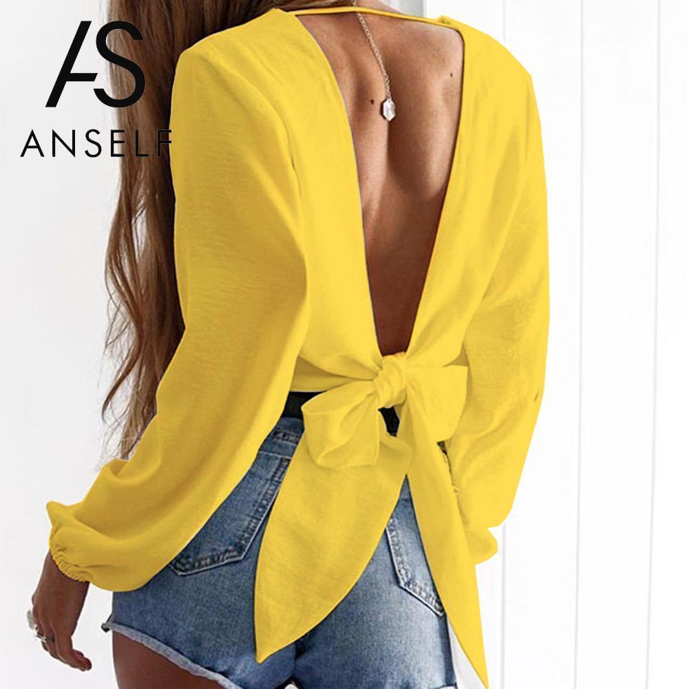 Anself Blusas Mujer De Moda 2019 Moda Mujer Tie-back Blusa Cuello en V profundo Blusas de manga larga Camisa recortada atractiva Crop Top Amarillo Y19050501