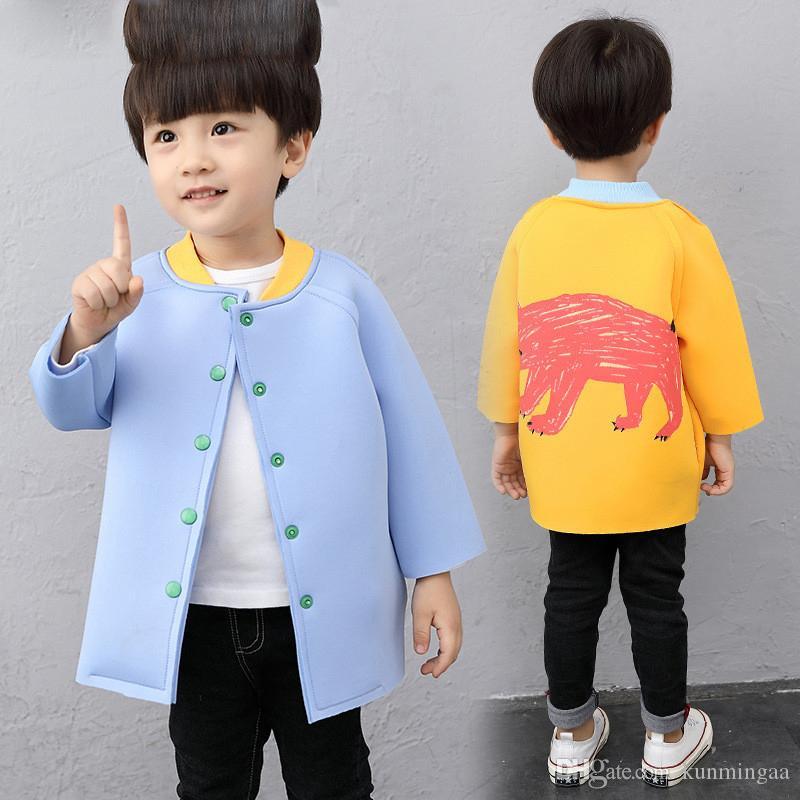 Trenchs de printemps et d'automne pour manteau de baseball de bébé garçons bébé couleur unie veste de mode pour enfants col rond