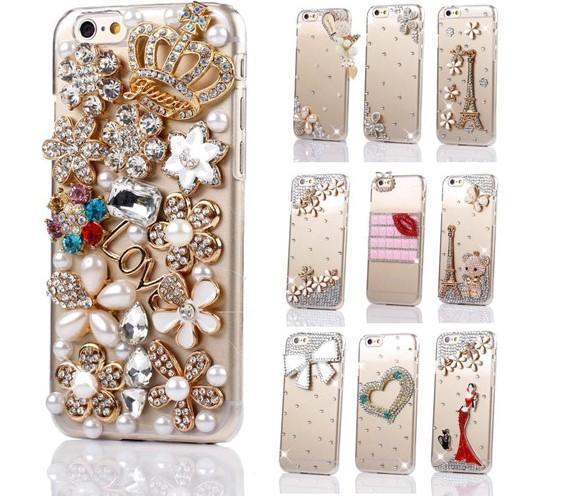 Toptan DIY lüks 3D kristal elmas sevimli şeffaf kapak iphone için XS MAX durumda XR X 6 6 S 7 8 artı 5 5 s se Taç Ayı 6 p