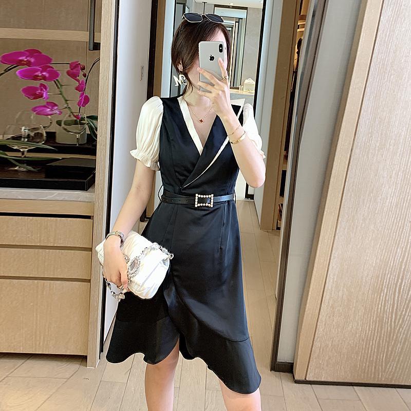 Мини-платье Runway высокого качества 2020 лета новых женщин способа сексуальный элегантный шик черный V-образным вырезом Строчка партии Повседневные платья