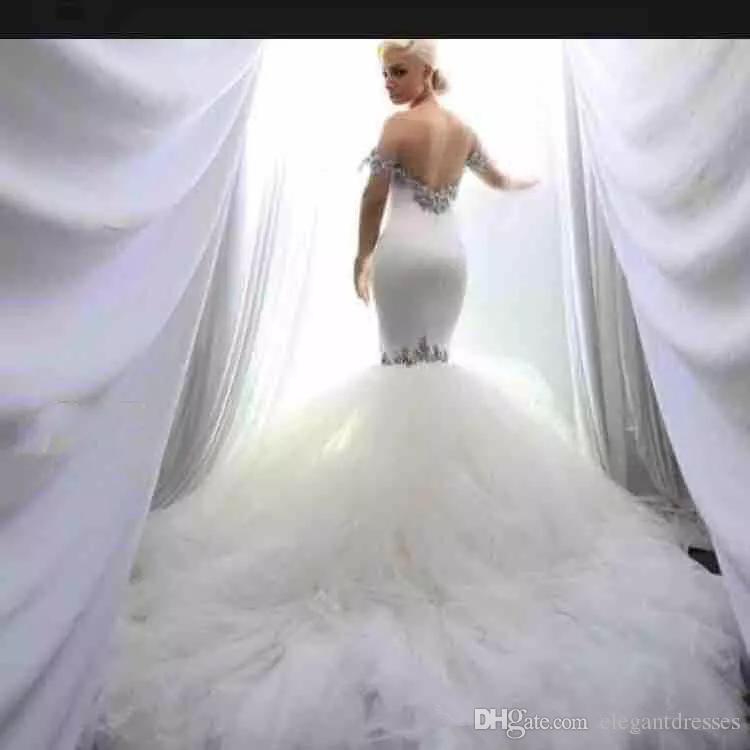 Vestidos de novia de sirena de cristal con hombros descubiertos sexy Vestido de novia de tul con gradas Vestidos de novia Vestidos de matrimonio vestidos de novia