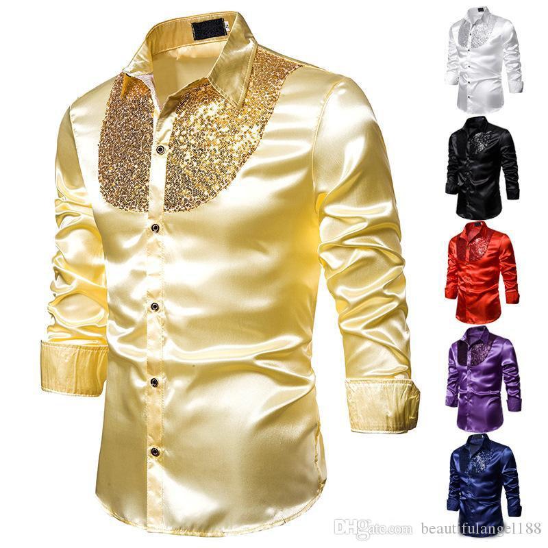 Erkek Tişörtleri Payetli gece kulübü erkek giyim emcee antumn moda uzun kollu T Shirt erkek Tees