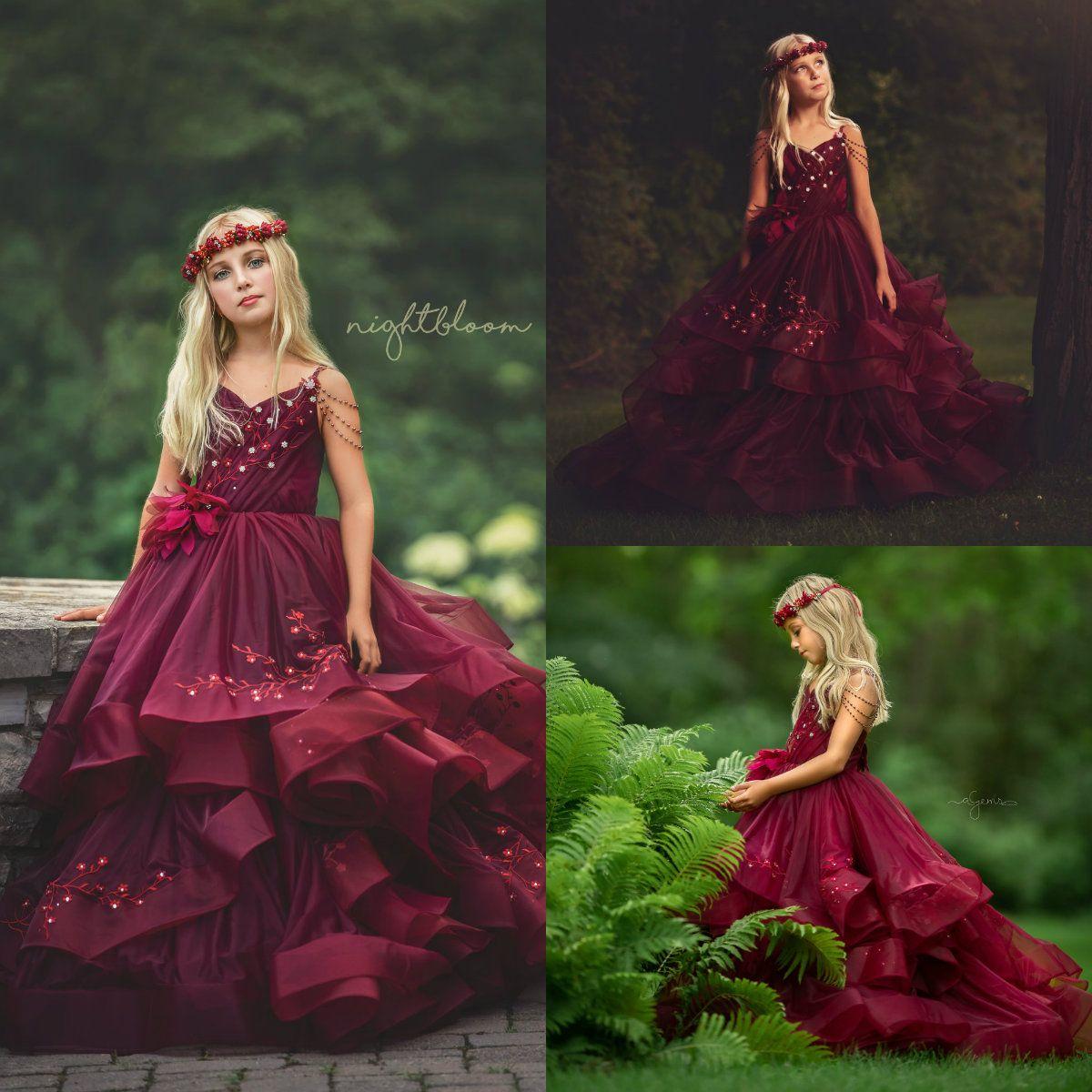 Lace borgonha flor menina veste saias em camadas tulle aplicar uma linha meninas pageant vestido beading primeiros vestidos de comunhão