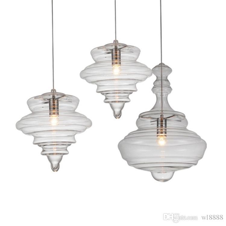 현대 유리 샹들리에 분명 나선형 크리 에이 티브 다락방 바 식당 독특한 예술 디자인 산업 매달려 램프