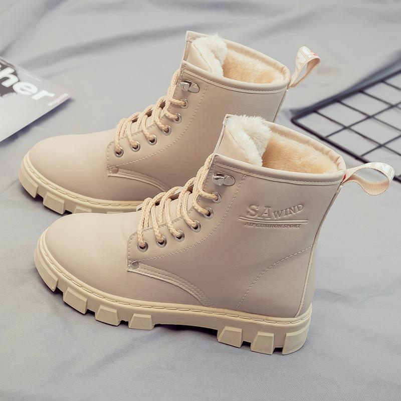 Zapatos de la PU Casual botas de nieve invierno de las mujeres calientes Nueva Plataforma tobillo de las mujeres Botas Punta Redonda sólido Superior Femenina felpa corta