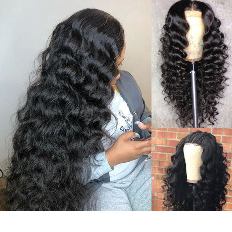 Дизайнер 4x4 кружева Закрытие париков Body Wave Virgin бразильский Preplucked 4x4 фронта шнурка человеческих волос wigss With
