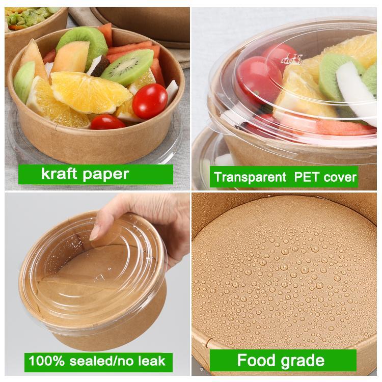 1300 ml 46 oz forme ronde brun boîte de salade de papier kraft jetable à emporter boîte contenant de la nourriture de qualité alimentaire