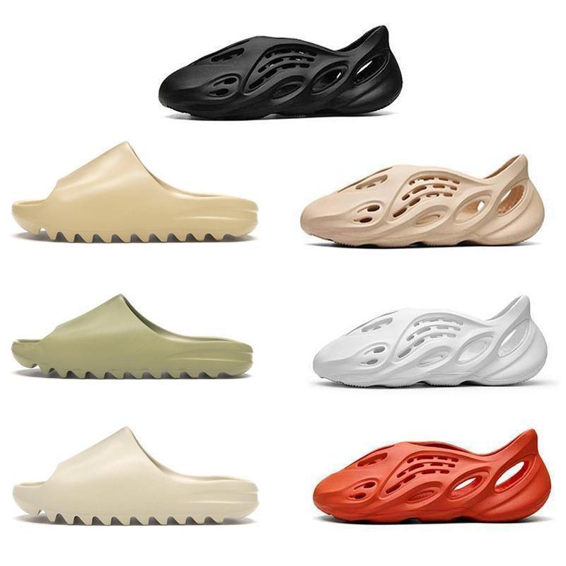 2020 거품 러너 Kanye West Clog Sandals 트리플 블랙 화이트 슬라이드 패션 슬리퍼 여성 Mens Designer Beach Sandals Flip FOPS 36-45