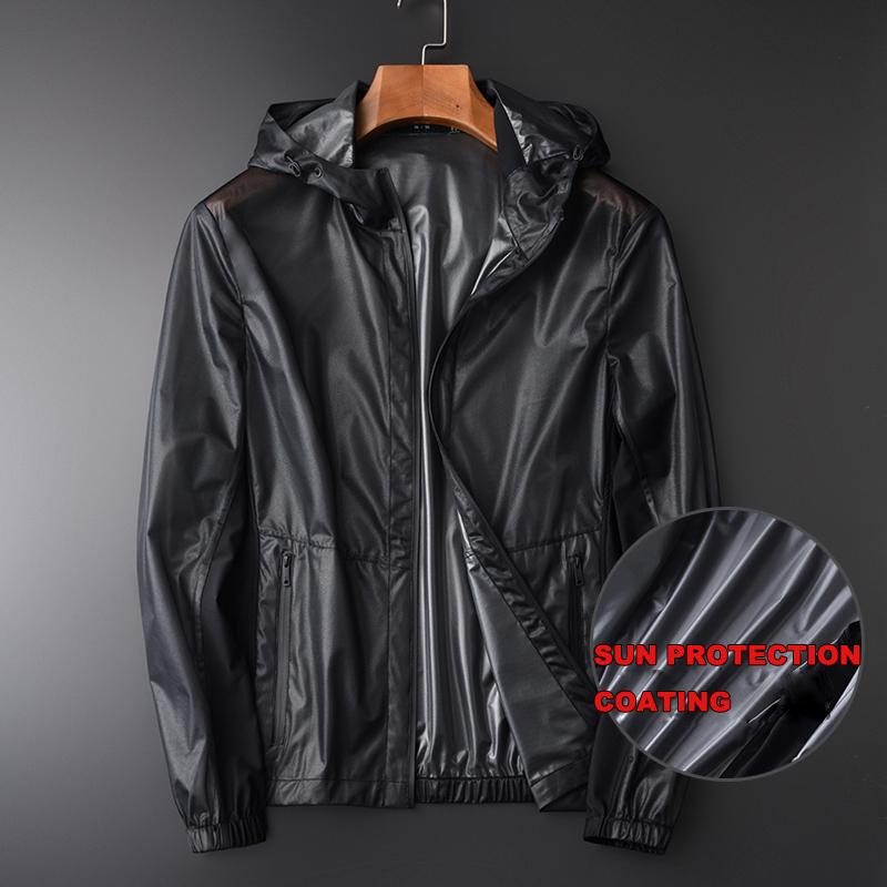 Summer Men Jackets Luxury Uv Coating Fabric Hooded Waterproof Prevent Bask In Mens Jackets And Coats Plus Size 3XL 4XL