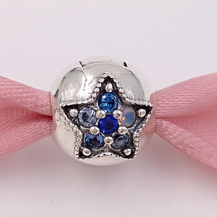 Autentico 925 perline in argento sterling 925 Bright Star clip Charms Adatti Bracciali europei Bracciali in stile Pandora Collana 796380nsbmx