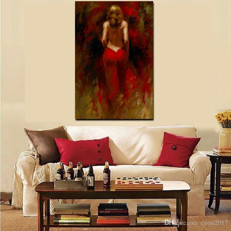 Peinture à l'huile abstraite de Portrait Avec Nu moderne femme sur toile sexy pour femme Accrochage Pour Salon Cuadros