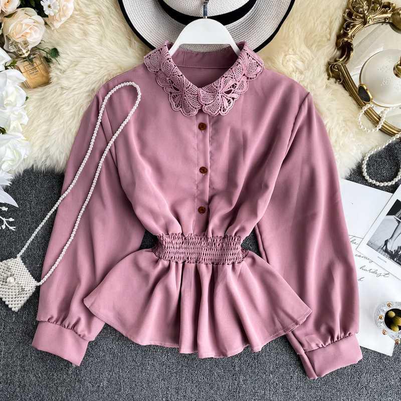 Shirts Automne Printemps des femmes Chic Nouveau dames shirt creux dentelle à col Turn-taille élastique Chemisier manches bouffantes Shirt Top ML660