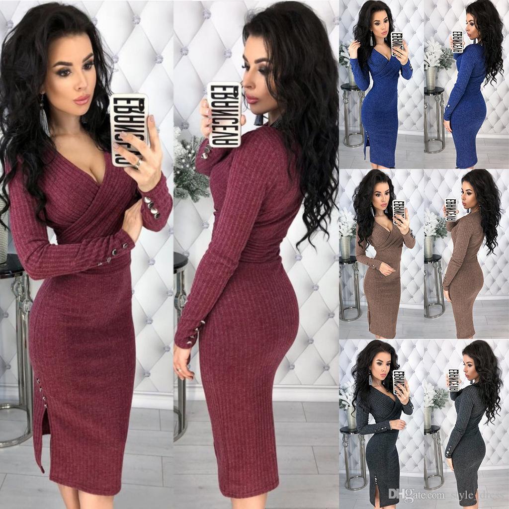 Kadın Örme Kalem Elbise V Boyun Uzun Kollu Perçin Düğme Bodycon Kulübü Parti Elbise