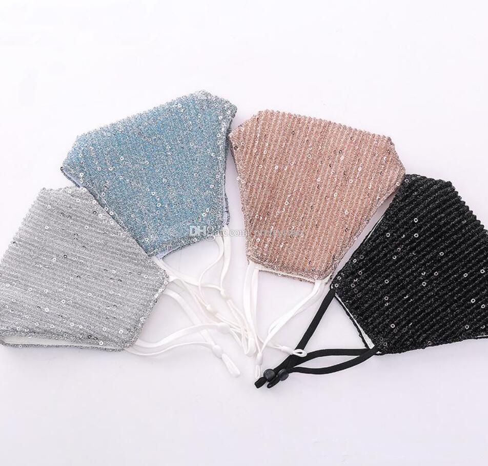 Glänzende Pailletten Gesichtsmasken PM2.5 Gesicht Mund-Maske Waschbar wiederverwendbare Baumwollschutzmasken Anti-Staub-Anti-Pollution-Abdeckung Maske Maske