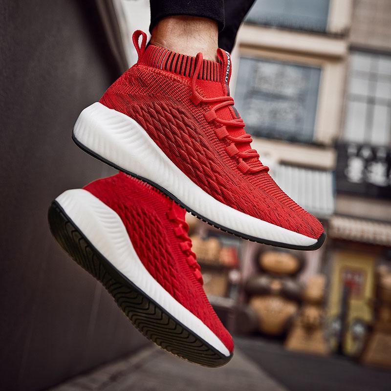 Yaz Moda Ayakkabılar Erkekler Spor Erkek Sneakers Çorap Eğitmenler Erkek Orta Kesim Sneakers Nefes Kıtıklanması Ayakkabı Koşu