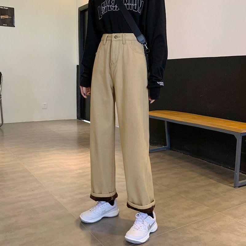 Frauen Jeans Alien Kitty Schlankheit Schlank Alles Spiel 2021 Hohe Taille Beiläufige Verdickung Winter Warme Stilvolle solide Streetwear Große Größe Hosen