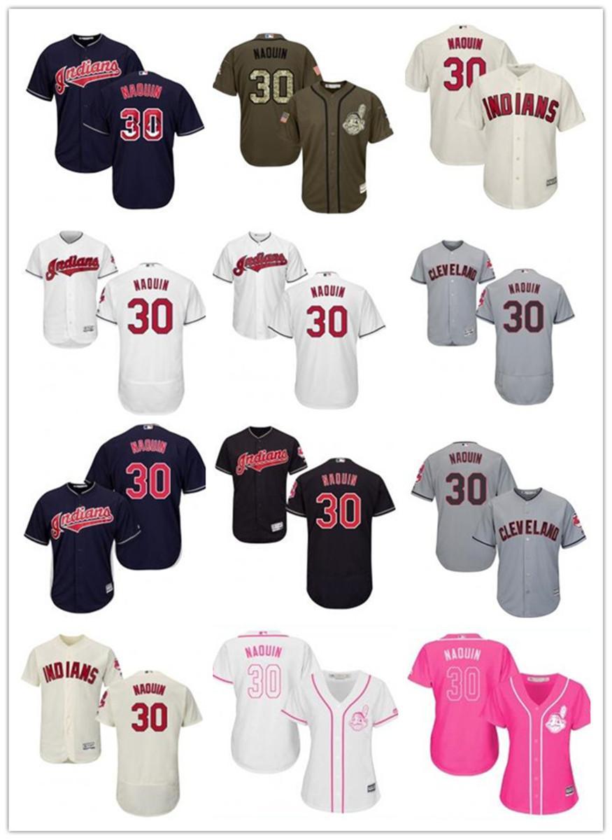 freies Schiff benutzerdefinierte Cleveland Cleveland Indians 30 Tyler Naquin Baseball Jersey Indians Baseball Wear Männer Frauen Jugend Trikots
