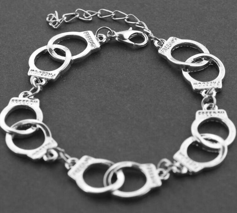 10pcs Punk Handcuffs Bracelets Exquisite Shades of Grey Bracelets For Women Men Lover Couple Charms Jewelry Accessories Gifts Personality