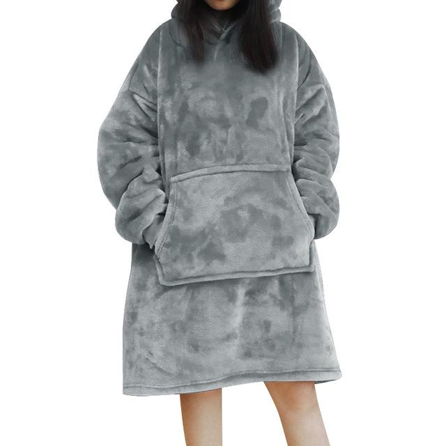 Winter Women Hoodie Sweatshirt Warm Pocket Blankets Outdoor Long Hoody For Women Coat Plush Oversized Sweatshirt