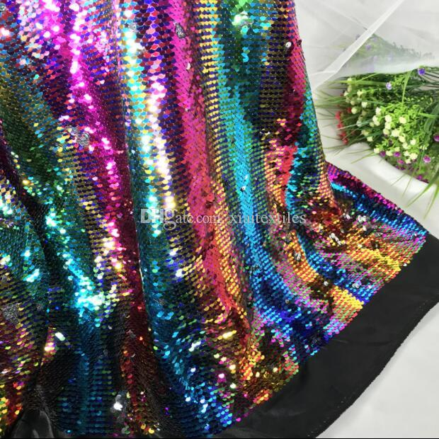 5style 5MM encryption double-sided two-color satin bottom sequin Mesh fabric diy home textiles wedding cloth polyester fabric C580