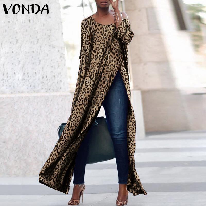 Plus La Taille Femmes Robe Vonda 2020 Automne À Manches Longues Imprimé léopard Sexy haut de Split Club Party Maxi Robes Casual Lâche Robes