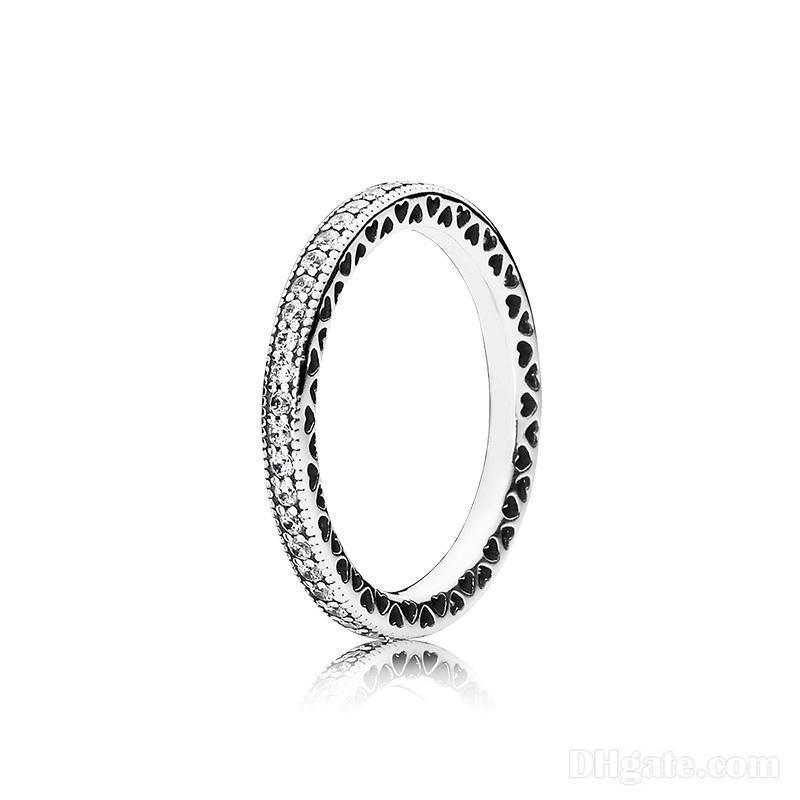 밴드 링 리얼 925 스털링 실버 CZ 다이아몬드 반지 원래 상자 맞는 판도라 결혼 반지 약혼 보석 여성을위한
