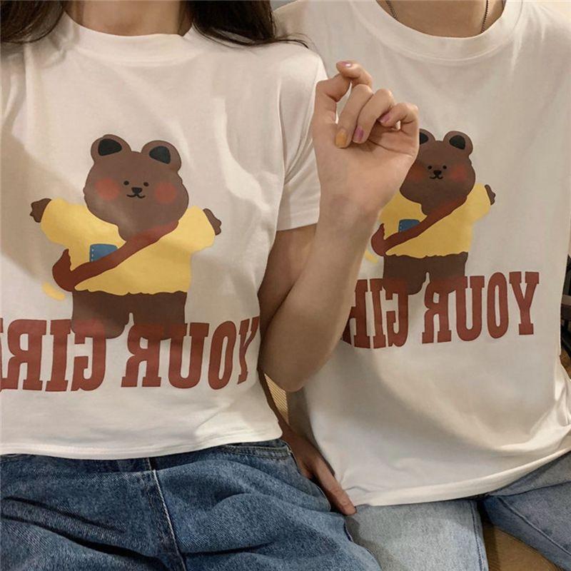 Netter Bär gedruckt Kurzarm-T-Shirt weiblichen in Mode-Sommer 2020 Student Paar Kontakte girlfriendsO4OJ