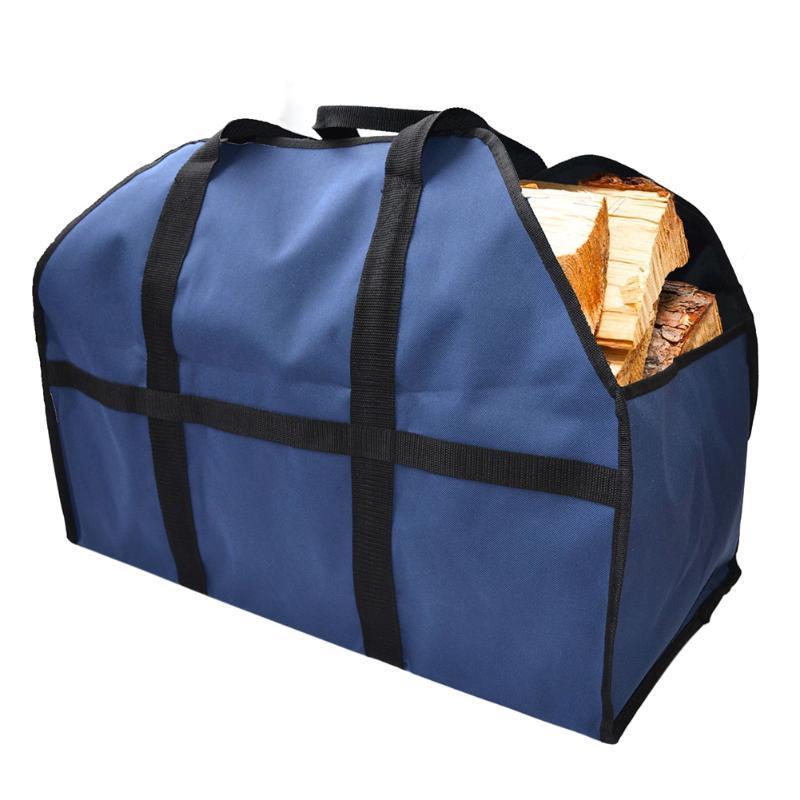 La leña pesada bolsa de almacenamiento deber lienzo leña de madera del registro del portador del sostenedor interior herramientas de la chimenea totalizadores Jardín